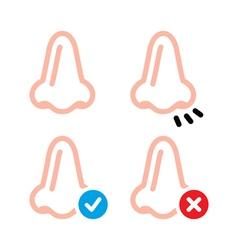 Nose smell human vid icons set vector