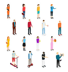 People set man and woman isometric view vector