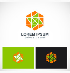 polygon geometry abstract colored logo vector image vector image