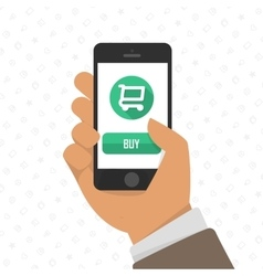 Shopping via mobile phone vector image