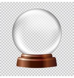 Snow globe big white transparent glass sphere on vector