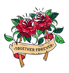 Tattoo two red roses with ribbon mutual love vector