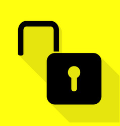 Unlock sign black icon with flat vector