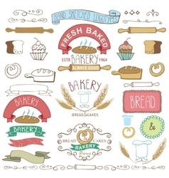 Vintage Bakery Labels elementsHand sketched vector image vector image