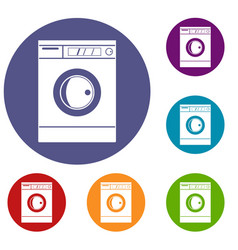 Washing machine icons set vector
