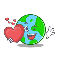 with heart world globe character cartoon vector image