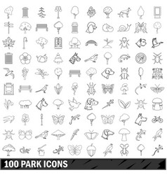 100 park icons set outline style vector