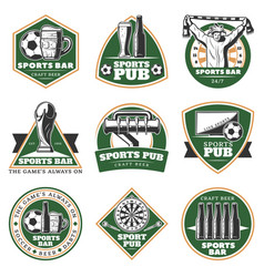 colorful vintage sport pub emblems set vector image
