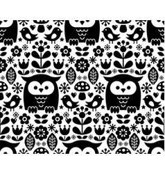 Scandinavian seamless pattern nordic folk art vector