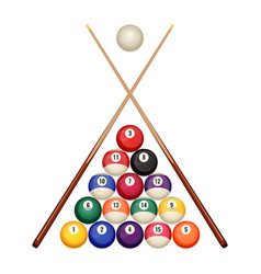 Pool billiard balls starting position with crossed vector