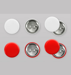 blank white and red badges pin button 3d vector image