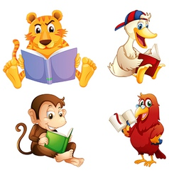 Four animals reading vector image