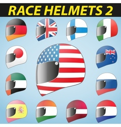 Bike helmet and flags vector