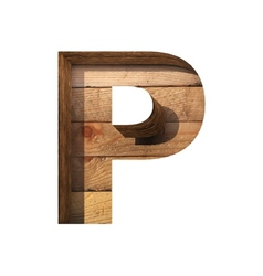 Wooden cutted figure p paste to any background vector