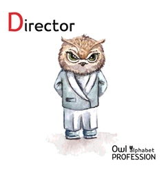 Alphabet professions owl letter d - director vector