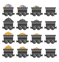 Iron mine cart set vector