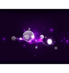 Glowing shiny bubbles and stars in dark space vector
