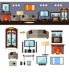 Living room interior with furniture vector