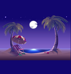 Night beach sea moon palm trees and sand vector