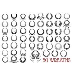 Black heraldic olive and laurel wreaths icons vector