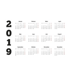 Simple calendar on 2019 year in german language vector