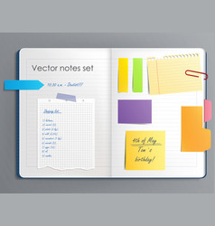 A notebook page with vector