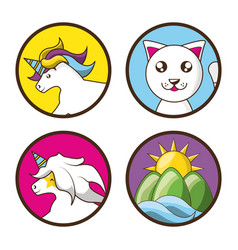 adorable set icon of unicorns cat and landscape vector image