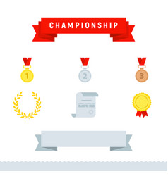 Award icons championship set flat design style vector