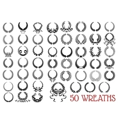 Black heraldic olive and laurel wreaths icons vector