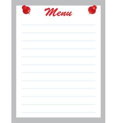 blank menu page vector image vector image
