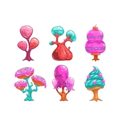 Cartoon sweet candy trees vector image vector image