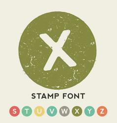 Circular stamp font template vector