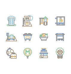 city facilities color line icons set vector image