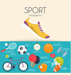 concept of sport infographics icons for web vector image