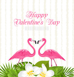 Cute card with pink flamingos and green leaves for vector