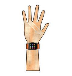 Drawing hand man with smart watch technology vector