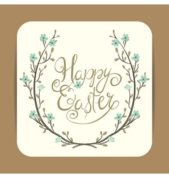 Easter greeting with spring wreath vector