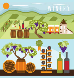 Flat design set of landscape with winery vector