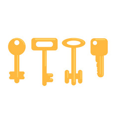 flat golden keys set vector image vector image