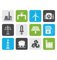 Flat power and electricity industry icons vector