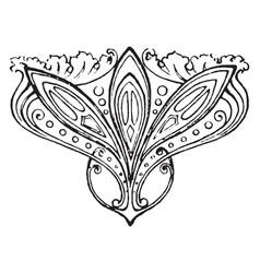 Floral tailpiece is a big leaves design vintage vector