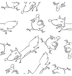 Fox and chick pattern hand draw vector