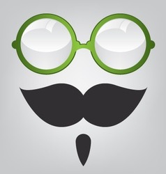 Funny mask green sunglasses and mustache vector image