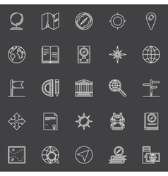 Geography line icons set vector