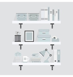 gray office supplies set on shelves icons vector image vector image