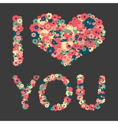 Grunge heart with text i love you vector