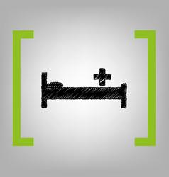 hospital sign black scribble vector image vector image