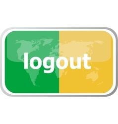 Logout word on web button icon isolated on vector