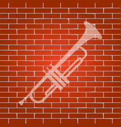 musical instrument trumpet sign whitish vector image