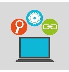 Notebook technology social media concept vector